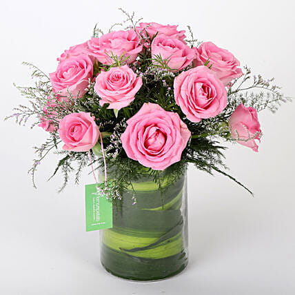 Pink Roses Vase Arrangement: Roses for Anniversary