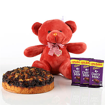 Dry Cake, Teddy & Chocolates Combo: Soft Toys Gifts