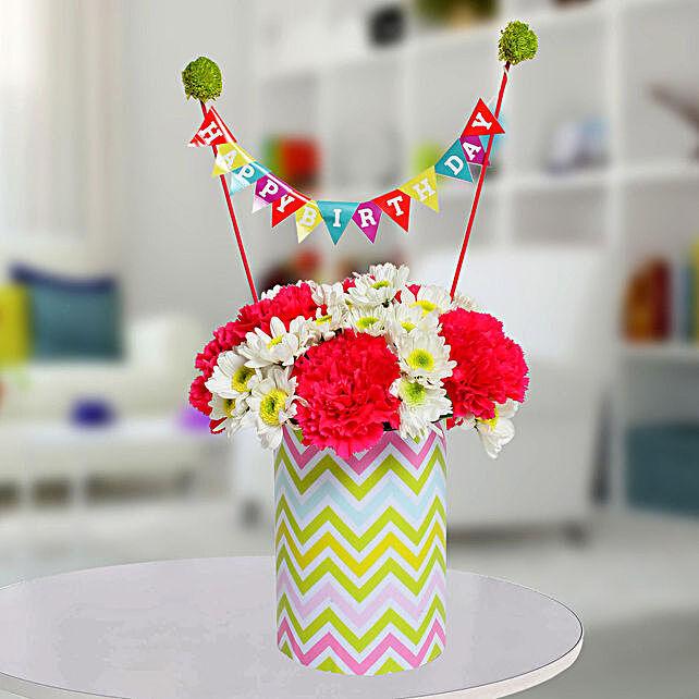 Special Birthday Vase Arrangement: Send Chrysanthemums