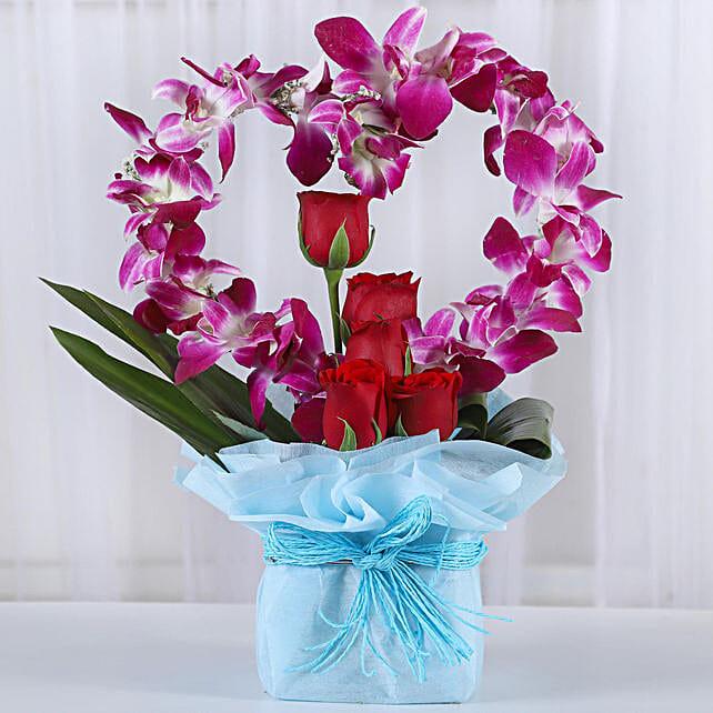 Romantic Heart Shaped Orchids Arrangement: Vase Arrangements