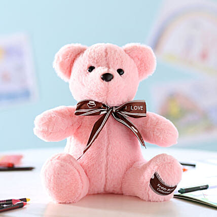 Teddy Bear With Bow- Pink: Soft Toys Gifts