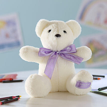 Teddy Bear With Bow- White: Send Soft Toys