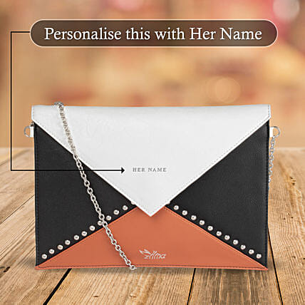 Classic Orange & White Sling Bag: Personalised Handbags and Wallets