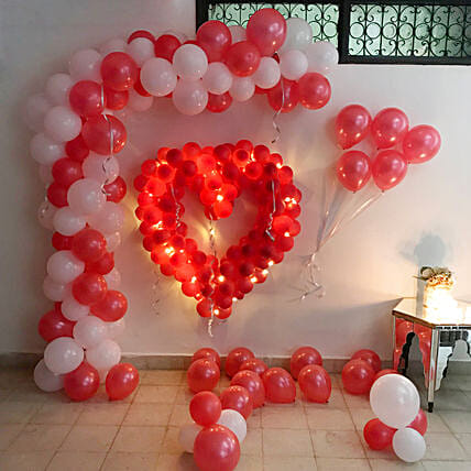 Glowing Red & White Balloon Decor: Decoration Services in Mumbai