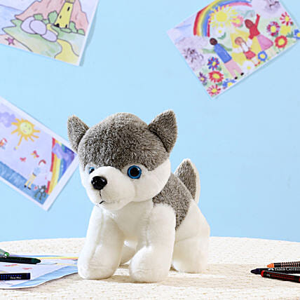 Grey Husky Dog Soft Toy: Soft Toys Gifts