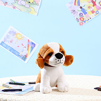 Standing Dog Soft Toy- White: Send Soft Toys