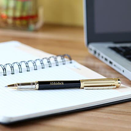Personalised Black & Gold Body Roller Pen: Personalised Stationery
