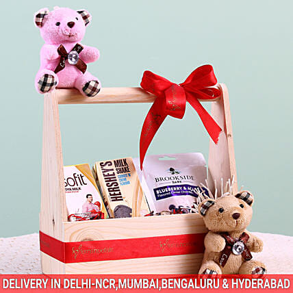 Assorted Wooden Gift Basket: Gourmet Gifts India
