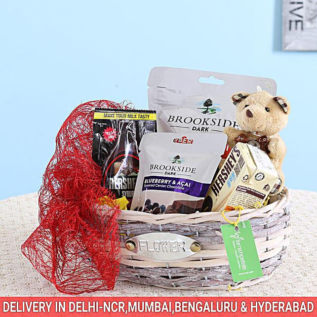 Hershey's Milkshake & Brookside Chocolates Basket: Send Gourmet Gifts