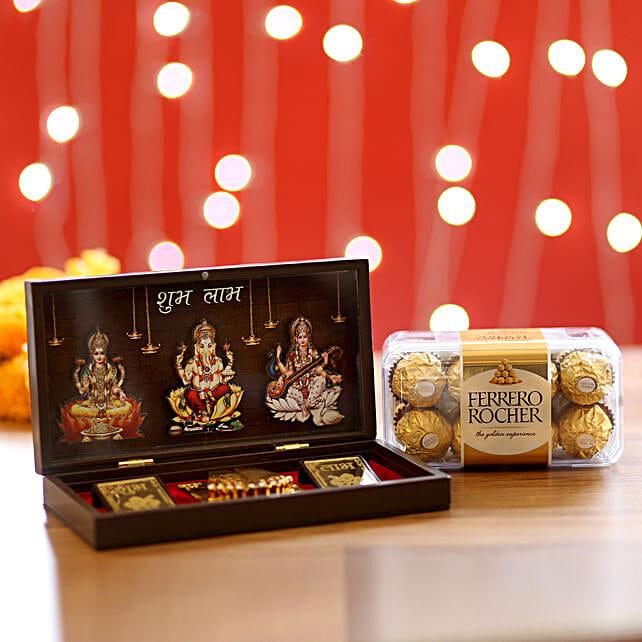 Diwali Pooja Box & Ferrero Rocher: Laxmi Ganesh Gifts