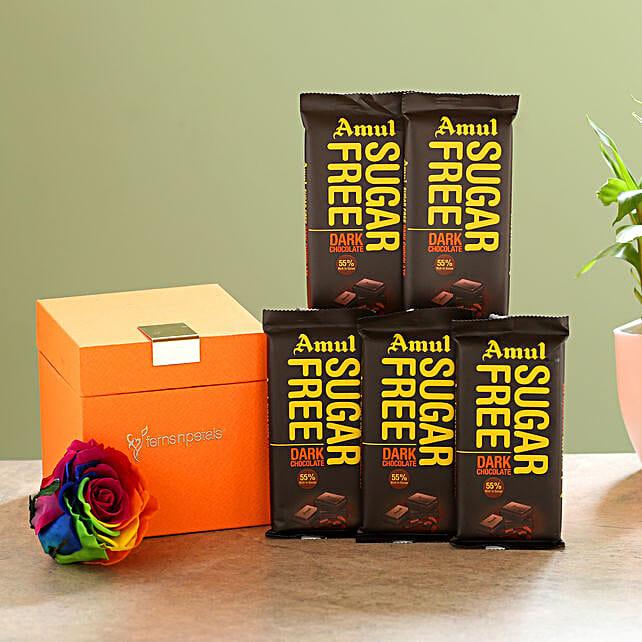 Forever Rainbow Rose & Sugar Free Amul Chocolates: Flower Combos