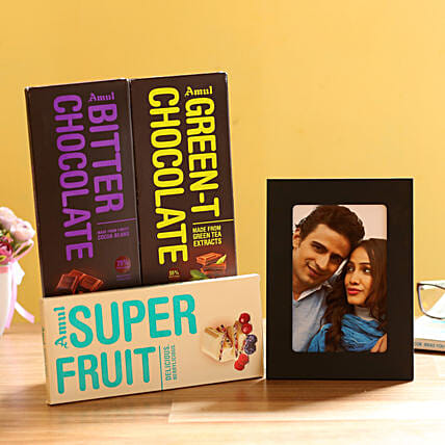 Personalised Photo Frame & Amul Chocolates: Chocolate Combos