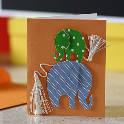 Tassel Tail Elephant Greeting Card: Friendship Day Gifts