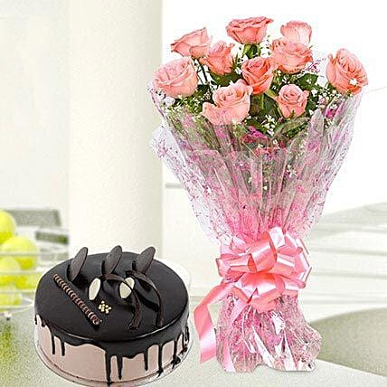10 Pink Roses And Chocolate Cake Combo: Flowers & Cake Combos