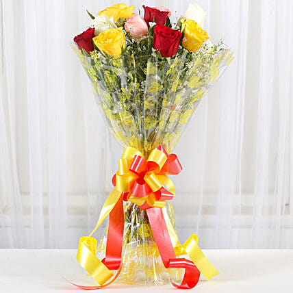 Magical Multicolored Roses Bouquet: Send Roses to Mumbai