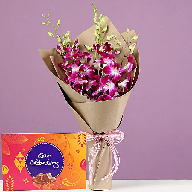 Purple Orchids Bouquet & Cadbury Celebrations: