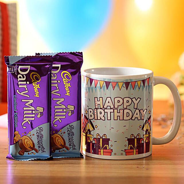 Birthday Wishes Mug & Dairy Butterscotch: Cadbury Chocolates