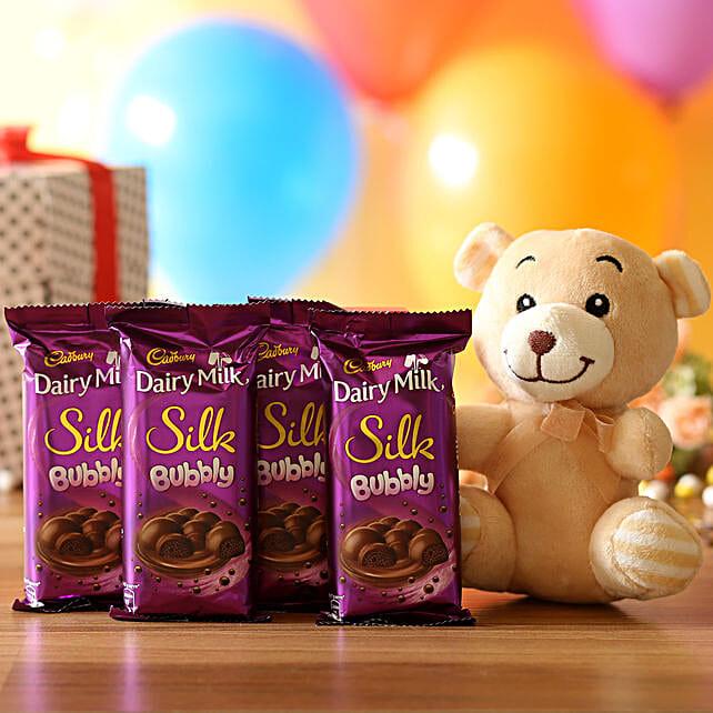 Cuddly Bear & Dairy Milk Bubby Combo: Cadbury Chocolates