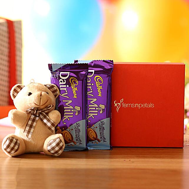 Cuddly Bear & Dairy Milk Butterscotch Combo: Soft Toys Gifts