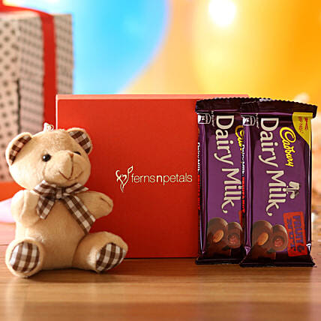 Cuddly Bear & Dairy Milk Fruit N Nut Combo: Send Soft Toys