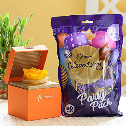 Yellow Forever Rose & Cadbury Party Pack: Send Flowers and Chocolates