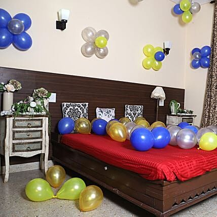 Colourful Balloons Decor- Silver, Yellow & Blue: Unique Gifts for Anniversary