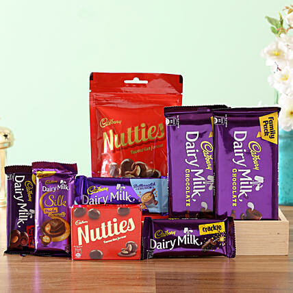 Wooden Tray Of Cadbury Sweetness: Send Gift Hampers