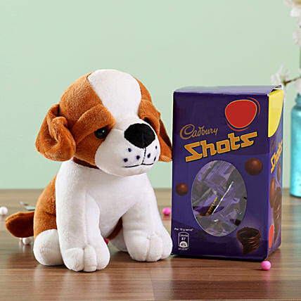 Adorable Dog Soft Toy & Cadbury Shots: Chocolate Combos