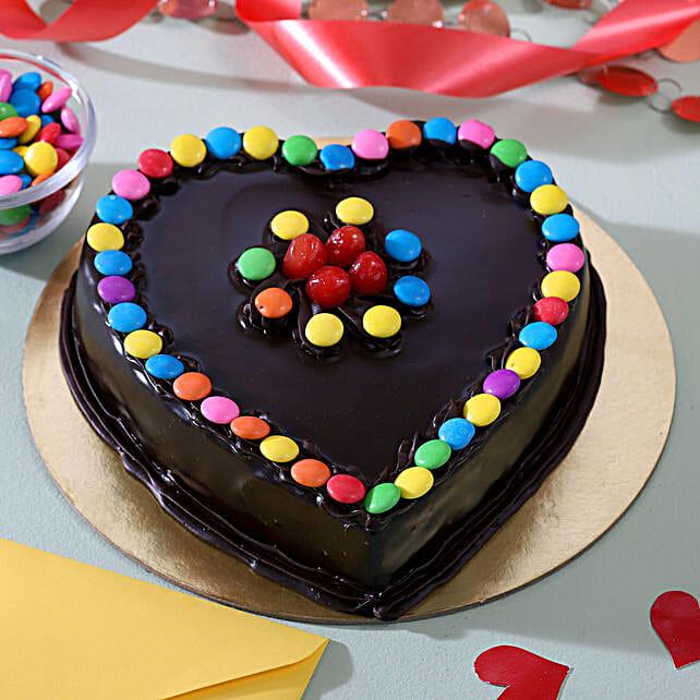 Heart Shaped Truffle Cake With Gems: Send Heart Shaped Cakes