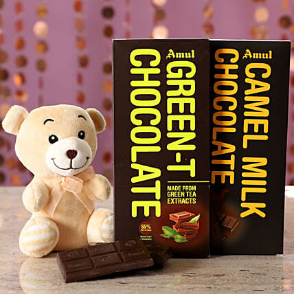 Exotic Amul Chocolates & Teddy Bear: Raksha Bandhan Soft toys