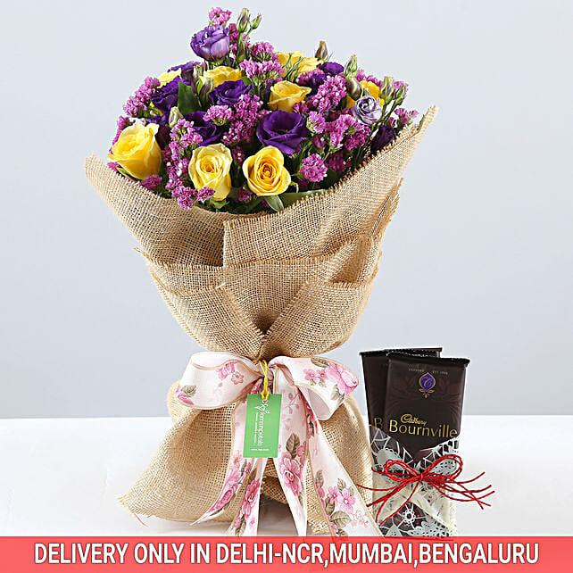 Vibrant Bouquet & Bournville Combo: Cadbury Chocolates