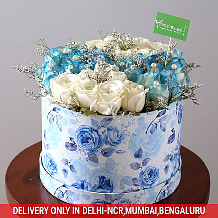 White & Blue Rose Box: Exotic Flowers