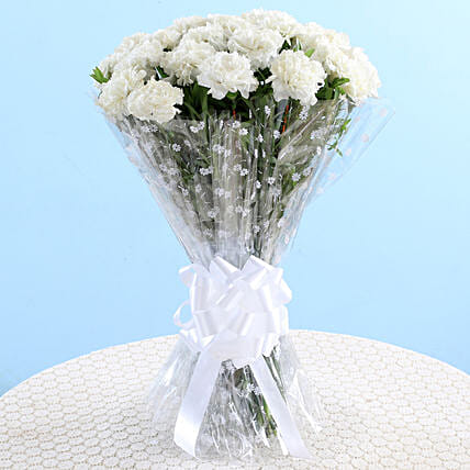 White Carnations Graceful Bouquet: White Flowers