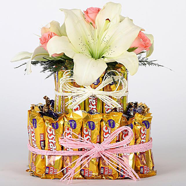 White Lilies Five Star Tier Arrangement: Cadbury Chocolates