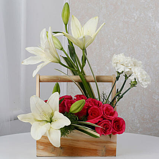 White N Pink Floral Wooden Arrangement: Carnations