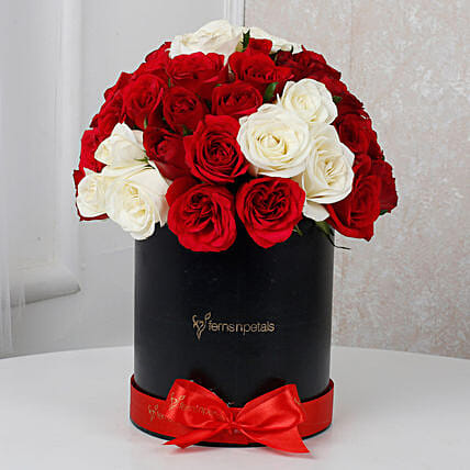 White & Red Roses Box Arrangement: Premium Roses