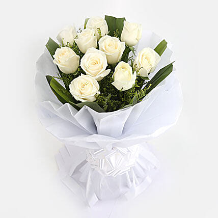 White Roses Bunch: White Flowers