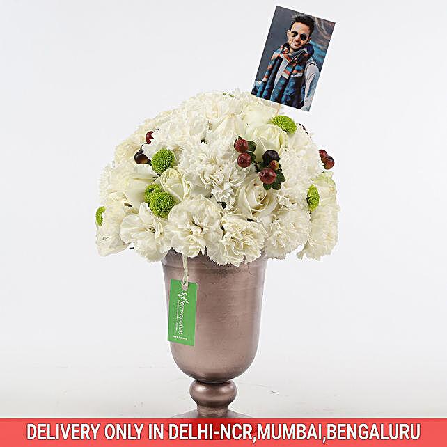 White Roses & Carnations Arrangement: