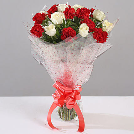 White Roses & Red Carnations Bouquet: Send Carnations