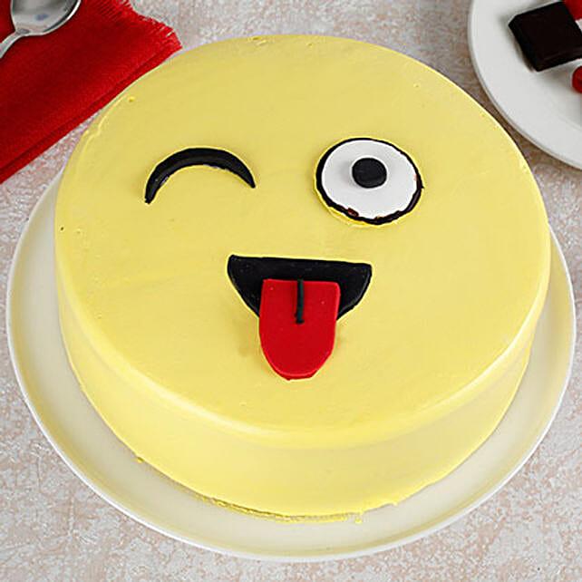 Wink Emoji Semi Fondant Cake: Send Butterscotch Cakes
