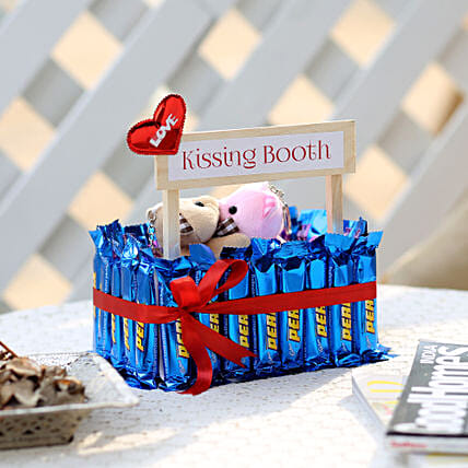 Wooden Kissing Booth With Perk Chocolates: Gifts for Chocolate Day