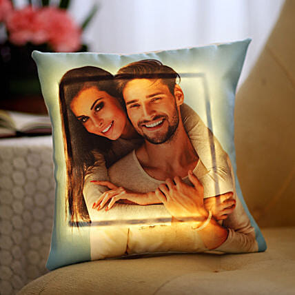 Yellow LED Personalised Love Cushion: Personalised Cushions