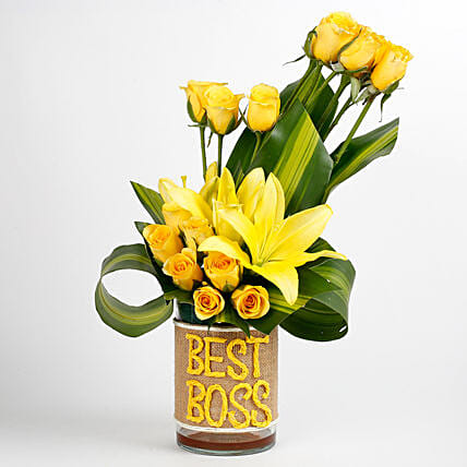 Yellow Roses & Asiatic Lilies Arrangement For Best Boss: Gift For Boss