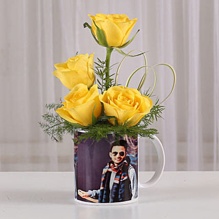 Yellow Roses in Personalised Mug: Send Personalised Gifts to Bengaluru