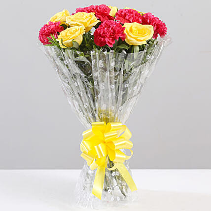 Yellow Roses & Pink Carnations Bouquet: Mixed flowers
