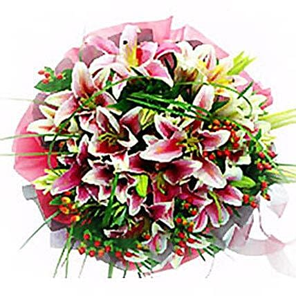 Lovely Lilies Smile Bouquet: Father's Day Gift Delivery in Malaysia