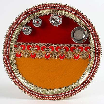 Decorated Red and Yellow Steel Pooja Thali: Karwa Chauth Gifts to UAE