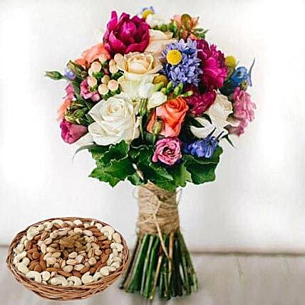 Mixed Roses Bouquet and Dry Fruits Combo: Flowers & Dry Fruits to UAE