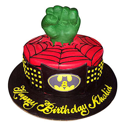 Superheroes at one place Cake: Spiderman Cakes