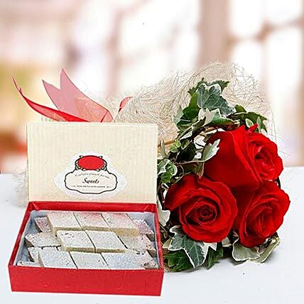 Red Roses Bouquet and Kaju Katli Combo: Send Sweets to UAE